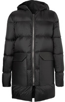 Rick Owens Leather-trimmed Quilted Shell Down Jacket - Black