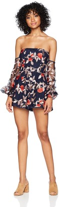 Finders Keepers findersKEEPERS Women's Rituals Long Sleeve Off Shoulder Floral Embroidered Romper