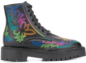 Jessie Western Embroidered Combat Boots