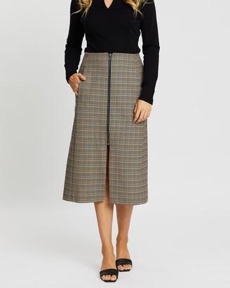 SABA Ruiz Zip Front Midi Skirt