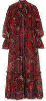 Etro Lace-trimmed Printed Cotton And Silk-blend Maxi Dress - Burgundy