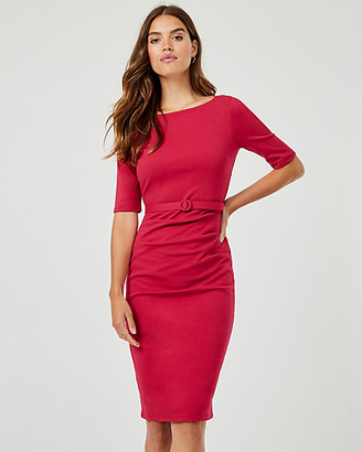 Le Château Belted Ponte Knit Boat Neck Dress