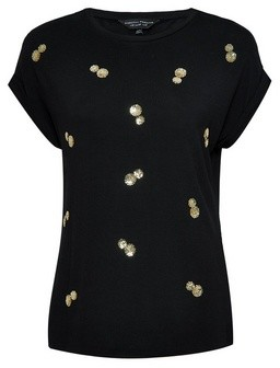 Dorothy Perkins Womens Black Sequin T