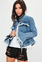 Missguided Blue Frill Trucker Denim Jacket, Blue
