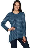 Denim & Co. Perfect Jersey Striped Long SleeveTrapeze Hem Top