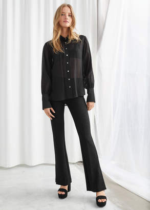 And other stories Glitter Lurex Stretch Kick Flare Trousers