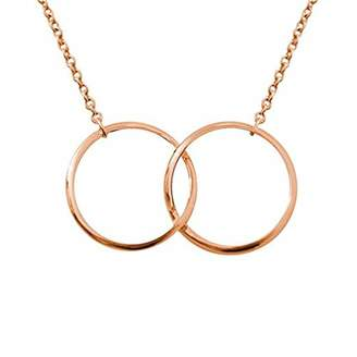 Sparkling Jewellery Women Gold Pendant Necklace of Length 48cm two-ring - rose gold