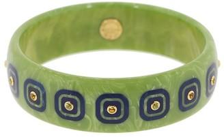 Mark Davis Green Bakelite, 18kt Yellow Gold And Citrine Bangle