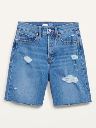 Old Navy Extra High-Waisted Sky Hi Button-Fly Ripped Jean Shorts for Women -- 7-inch inseam