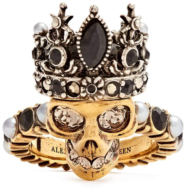 Alexander McQueen Queen skull crystal and pearl-embellished ring