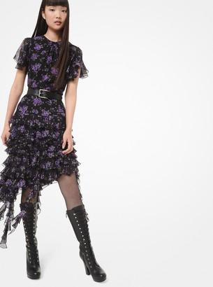 Michael Kors Floral Silk-Georgette Ruffle Dress