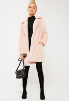 Missguided Pink Oversized Collar Faux Fur Coat
