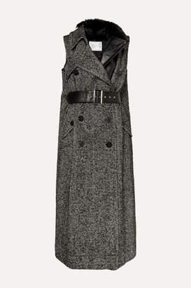Sacai Faux Fur-trimmed Layered Herringbone Wool-blend And Leather Vest - Black