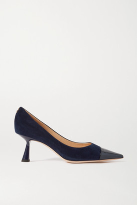 Jimmy Choo Rene 65 Suede And Patent-leather Pumps - Navy
