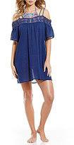 LaBlanca La Blanca Island Fare Off-The-Shoulder Crochet-Trim Dress Cover-Up