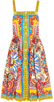 Dolce & Gabbana Printed Cotton-poplin Midi Dress - Yellow