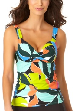 Anne Cole Printed Underwire Twist-Front Tankini Top Women's Swimsuit
