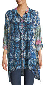 Patchwork Challis Button-Front Tunic