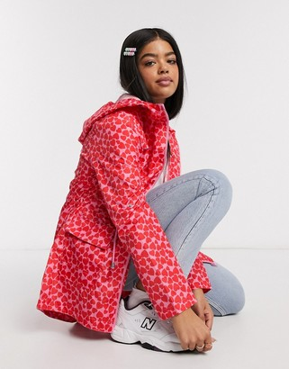 Brave Soul ray rain mac in heart print