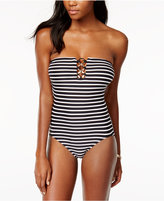 MICHAEL Michael Kors Striped Strapless One-Piece Swimsuit