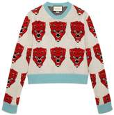 Gucci Tiger jacquard wool knitted sweater