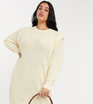 Noisy May Curve knitted jumper dress with sleeve detail in cream