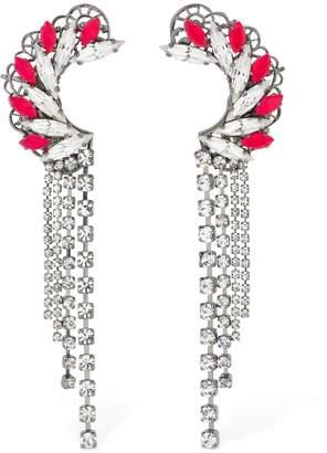 Anton Heunis Maxi Omega Crystal Clasp Earrings