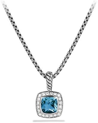 David Yurman Petite Albion Pendant with Hampton Blue Topaz and Diamonds on Chain
