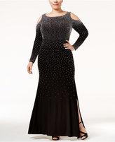 Xscape Evenings Plus Size Beaded Cold-Shoulder Slit Gown