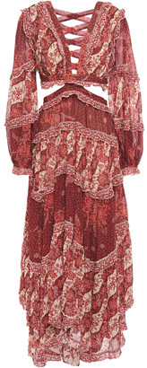 Zimmermann Eyes On Summer Lace-up Printed Chiffon Maxi Dress