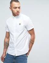 Lyle & Scott Oxford Shirt Short Sleeve Buttondown Regular Fit Eagle Logo in White