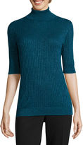 Liz Claiborne Elbow Sleeve Turtleneck Pullover Sweater
