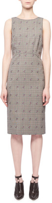 Altuzarra Sleeveless Floral-Embroidered Prince of Wales Sheath Dress