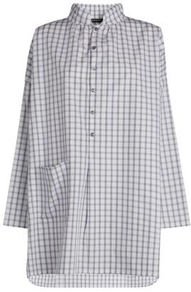 eskandar Sloped-Shoulder A-Line Check Shirt