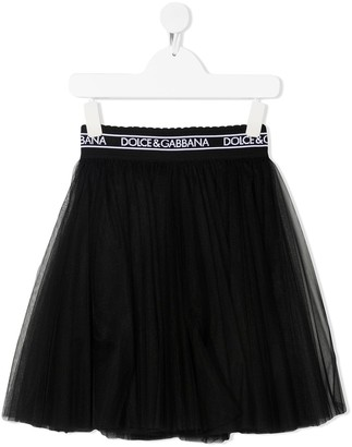 Dolce & Gabbana Kids logo-waistband A-line skirt