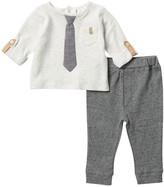 Miniclasix Tie Top & Speckled Knit Pants (Baby Boys)