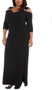 R & M Richards Plus Size Embellished Cold-Shoulder Gown