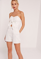 Missguided High Waisted Pin Stripe Shorts White