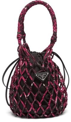 Prada Netted Printed Bucket Bag - Womens - Pink Multi
