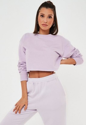 Missguided Lilac Crop Sweatshirt