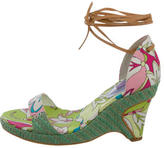 Emilio Pucci Abstract Print Wedge Sandals