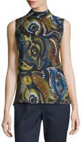 Lafayette 148 New York Fernanda Sleeveless Mock-Neck Printed Blouse, Galaxy Blue Multi