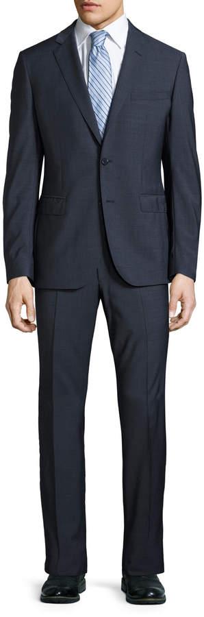 Neiman Marcus Slim-Fit Dot-Print Two-Piece Suit, Navy