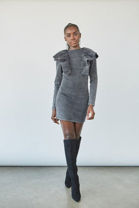 Forever 21 Chambray Ruffle-Trim Mini Dress
