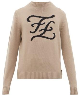 Fendi Karligraphy Ff-intarsia Cashmere Sweater - Beige