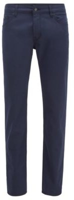 HUGO BOSS Regular Fit Jeans In Structured Stretch Denim - Dark Blue