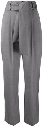 MSGM High-Rise Pleated Tie-Waist Trousers
