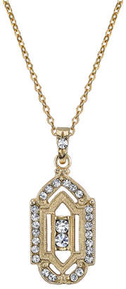 """Downton Abbey Gold-Tone Crystal Pendant Necklace 16"""" Adjustable"""