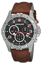 Wenger 77051 Men's Squadron Chrono Red Accents Dial Leather Strap Chronograph Watch
