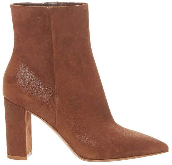 Gianvito Rossi Brown Leather Pointed Toe Booties